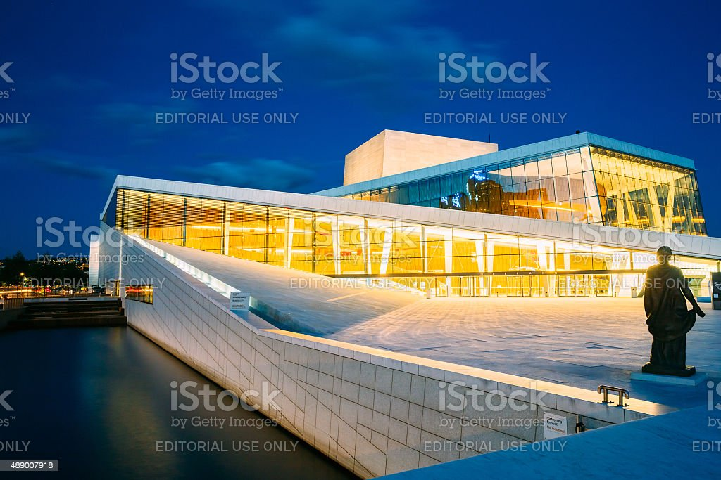 Exterior of White Building of The Oslo Opera House, Norway stock photo