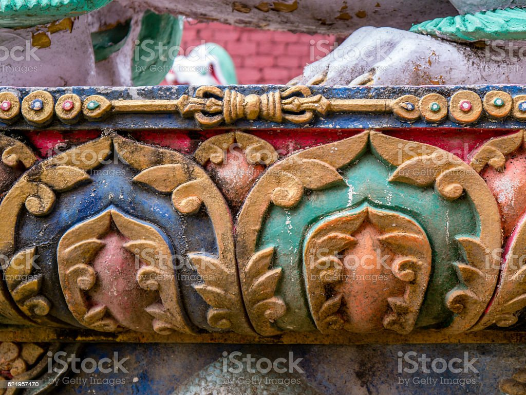 Exterior Painted Stone Work Nepalese Temple stock photo