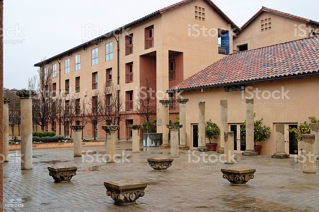 Exterior plaza of collegiate building stock photo