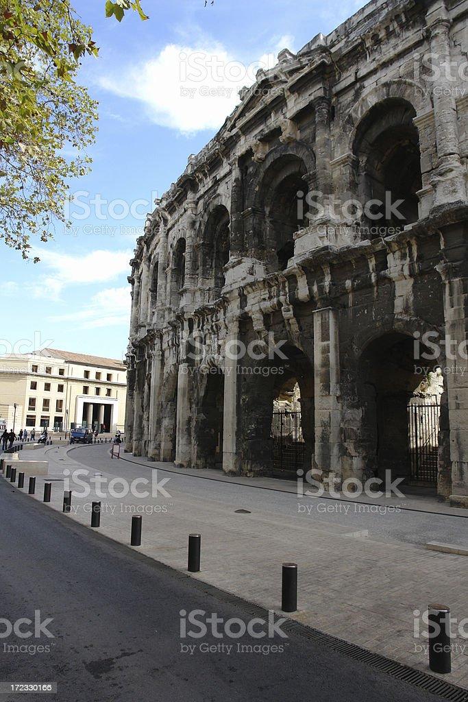 Exterior Roman Colosseum Nimes France royalty-free stock photo