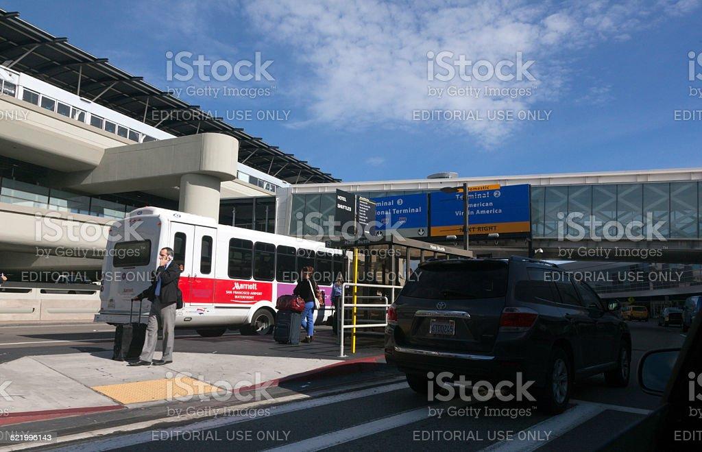 Exterior San Francisco Airport Passenger Activity stock photo