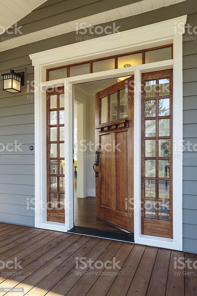Exterior shot of an open Wooden Front Door stock photo