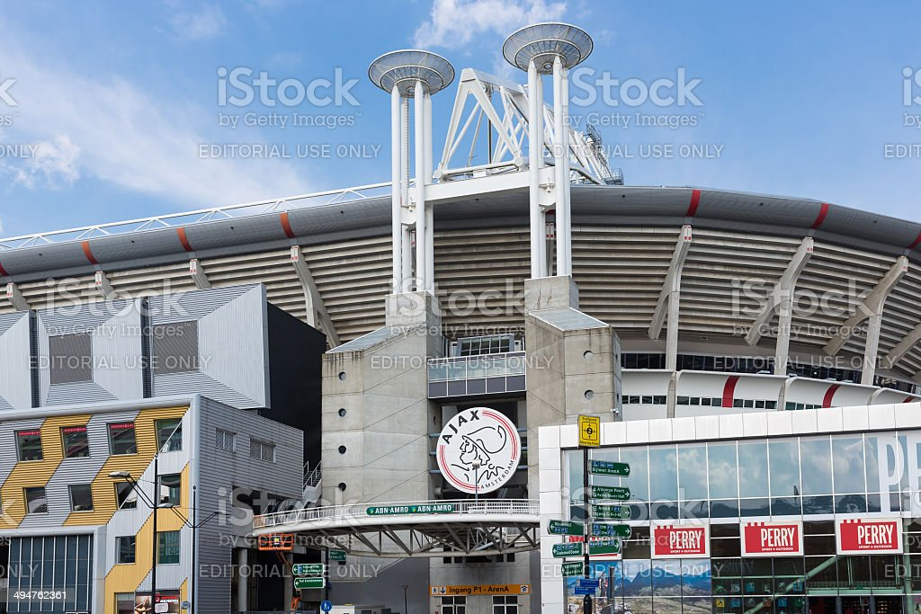 Exterior soccer stadium iin Amsterdam, the Netherlands stock photo