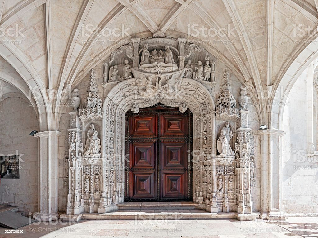 Exterior South Portal of the Jeronimos Monastery in Lisbon, Portugal stock photo