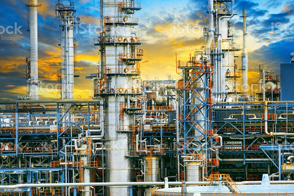 exterior structure of oil refinery plant in industry estate stock photo