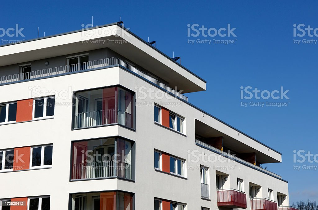 Exterior view of a new apartment house royalty-free stock photo