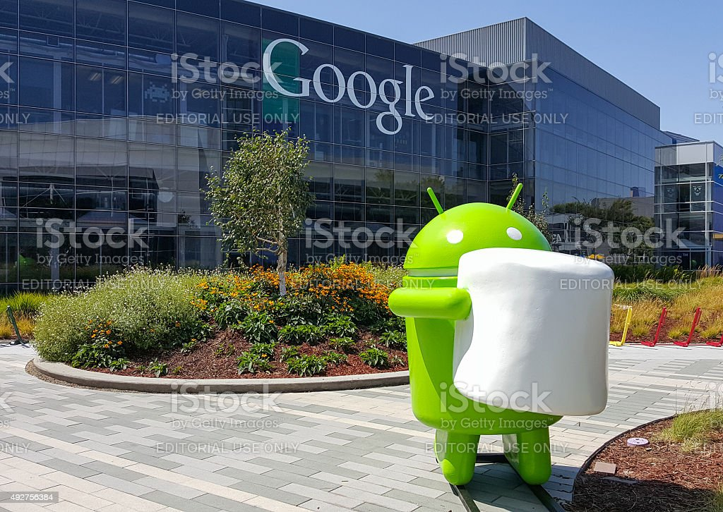 Exterior view of Google office with Android Marshmallow stock photo