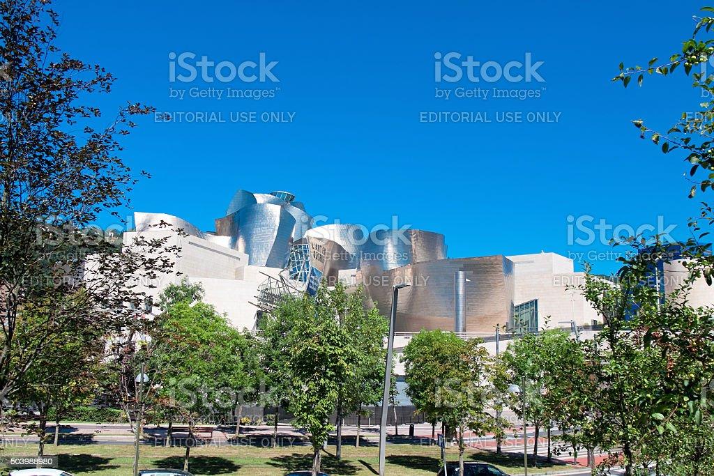 Exterior view of Guggenheim Museum stock photo