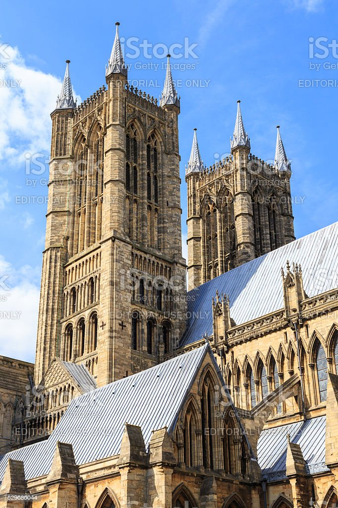 Exterior view of Lincoln Cathedral. stock photo