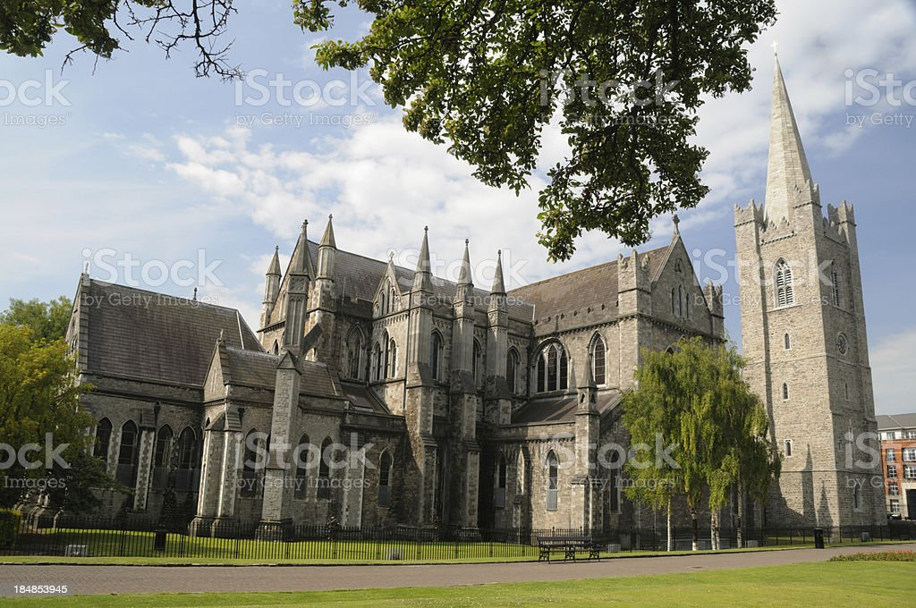 Exterior view of St. Patrick's Cathedral in Dublin, Ireland stock photo