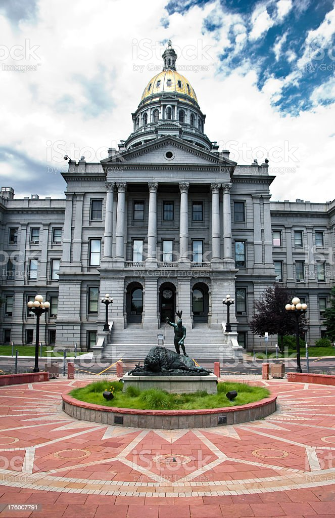 Exterior view of statue and State Capitol in Denver Colorado stock photo