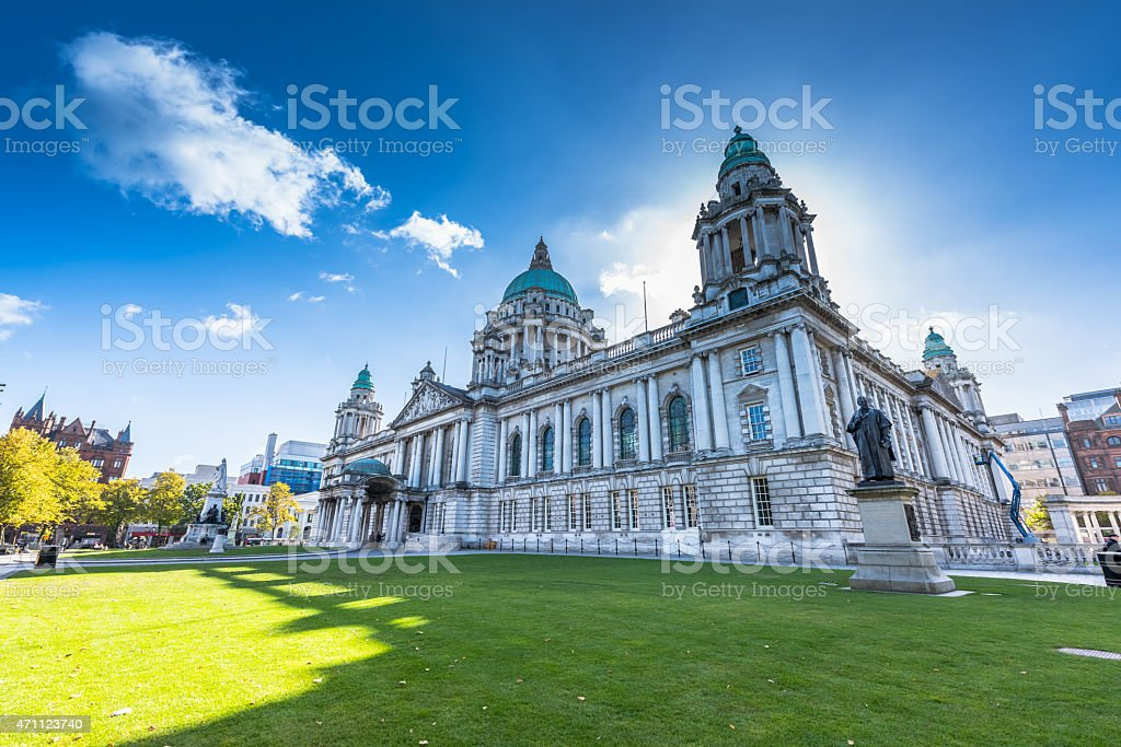 Exterior view of the city hall of Belfast North Ireland stock photo