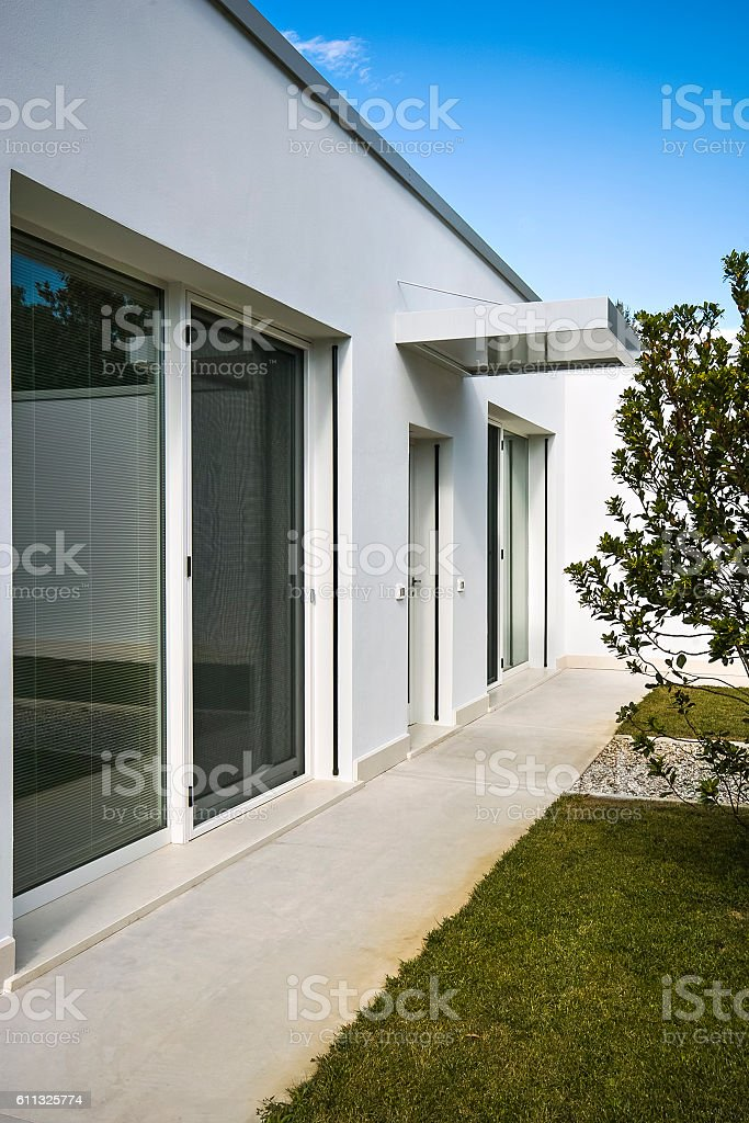 exterior view of the facade of  villa stock photo