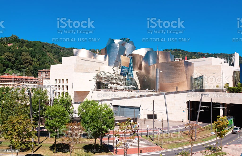 Exterior view of the Guggenheim Museum at sunset on Bilbao stock photo