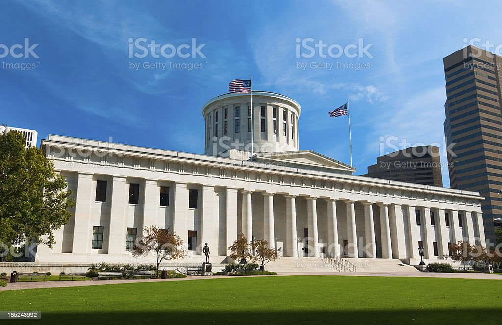 Exterior view of the Ohio Statehouse stock photo