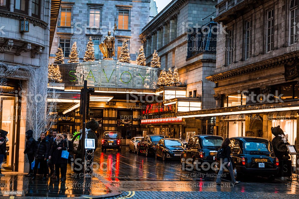 Exterior view of the Savoy Hotel on The Strand, London, UK stock photo