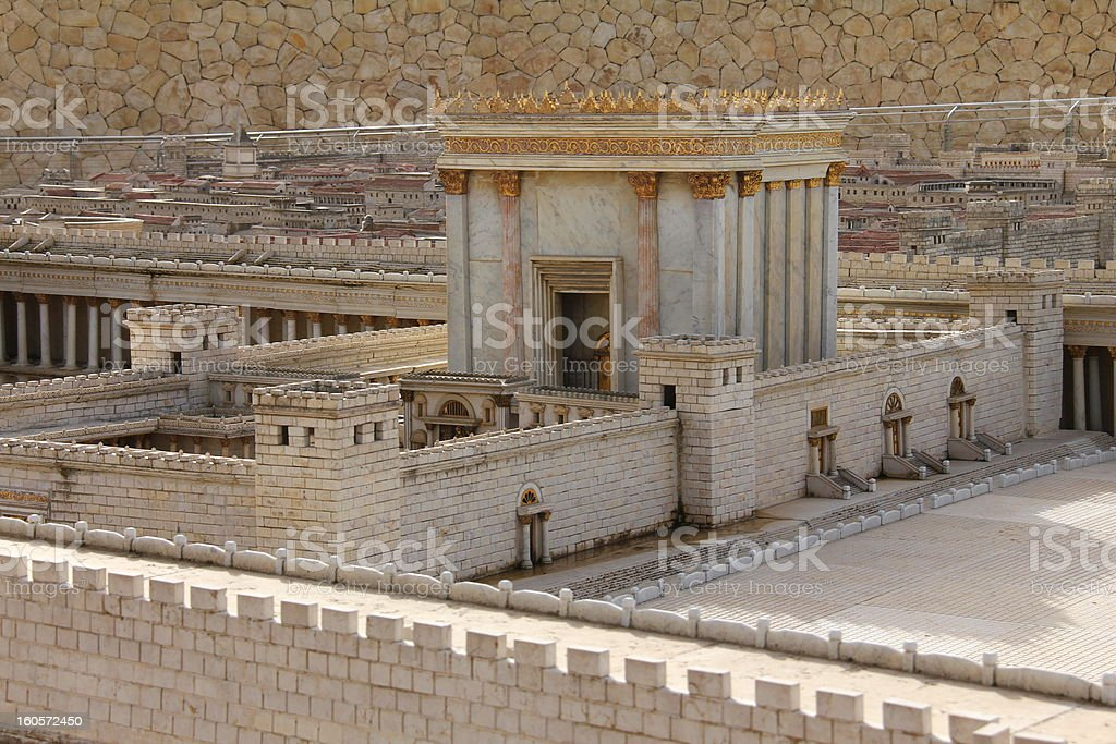 Exterior view of the Second Temple in Ancient Jerusalem stock photo