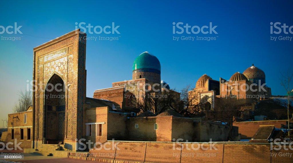 Exterior view to Shah-i-Zinda necropolis in Samarkand, Usbekistan stock photo