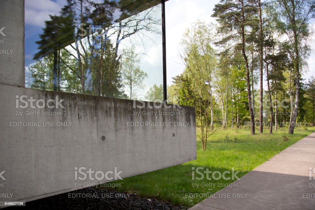 Exterior visitors center Bergen-Belsen camp stock photo