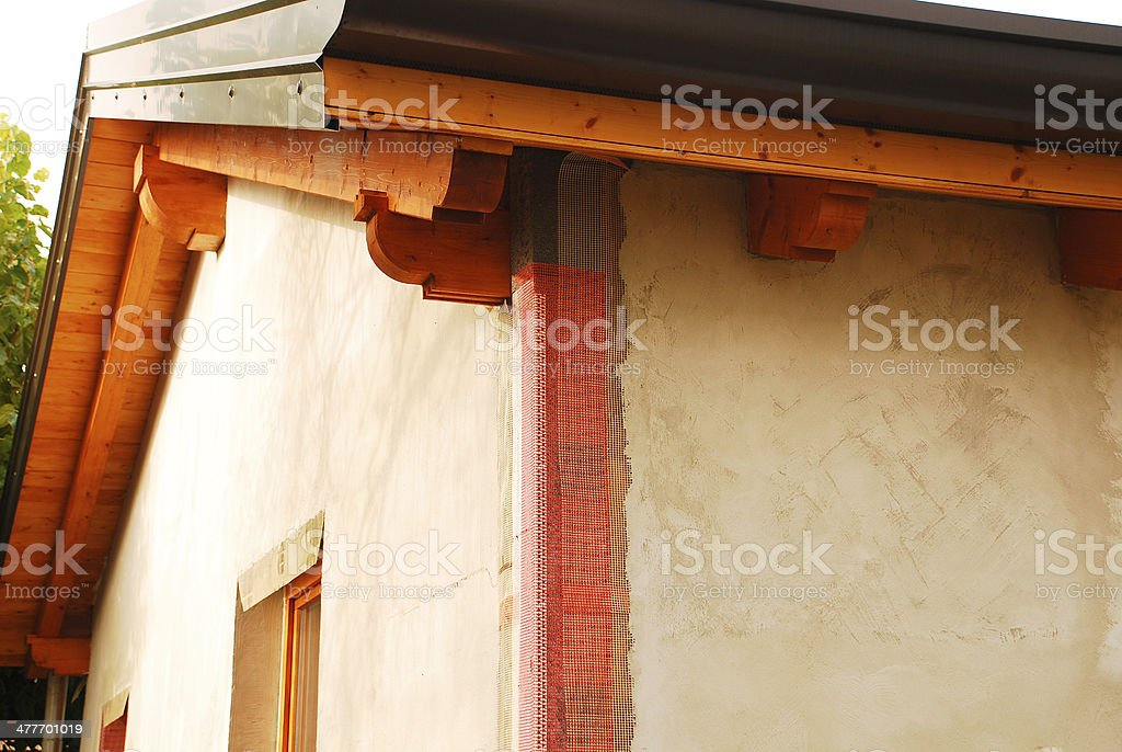 EPS Exterior Wall Insulation With Corner Mesh stock photo