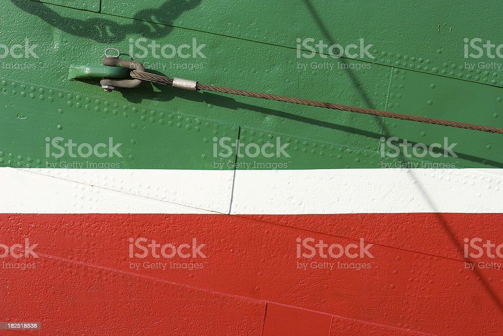 Exterior wall of a sail boat stock photo