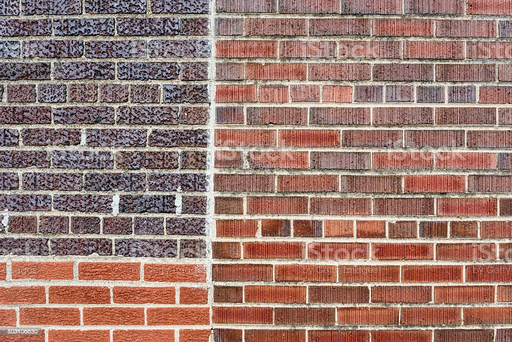 Different Types Of Exterior Walls : Exterior wall with three different types of bricks stock