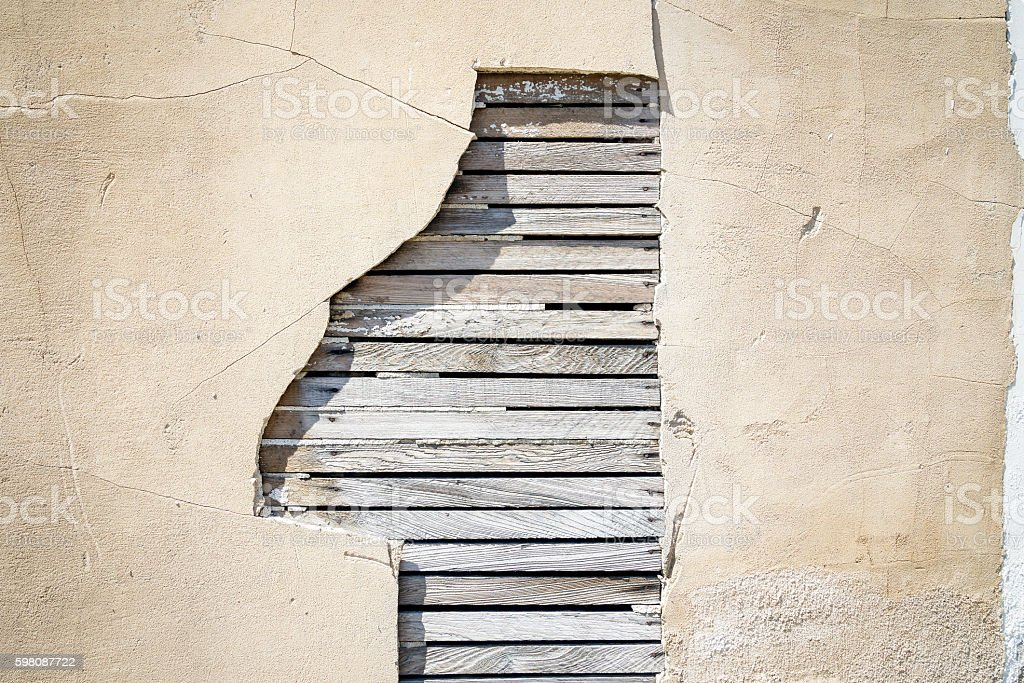 Exterior Wall with Wood Panels stock photo