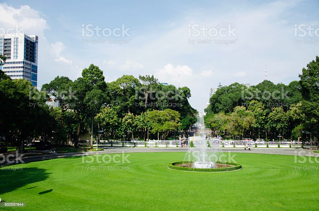 Exteriors of the Reunification Palace, Ho Chi Minh City stock photo