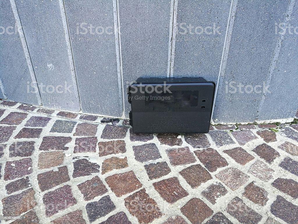 exterminator ultrasound in the city center stock photo