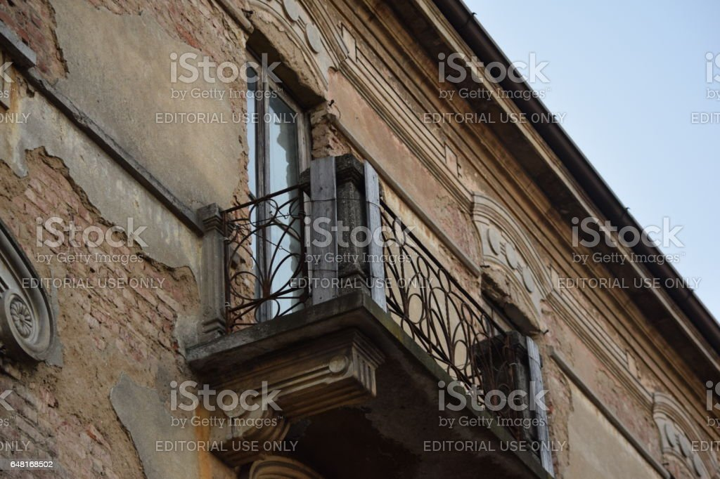 External balcony of an abandoned artdéco house stock photo