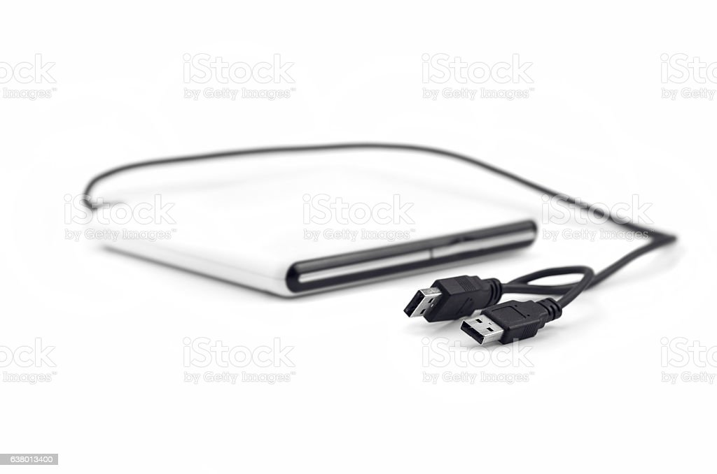 External CD Drive Connected With Double Usb Cable stock photo