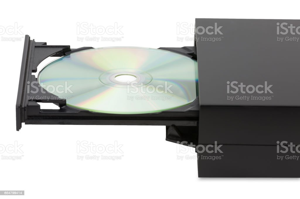 External CD-DVD player on white background stock photo