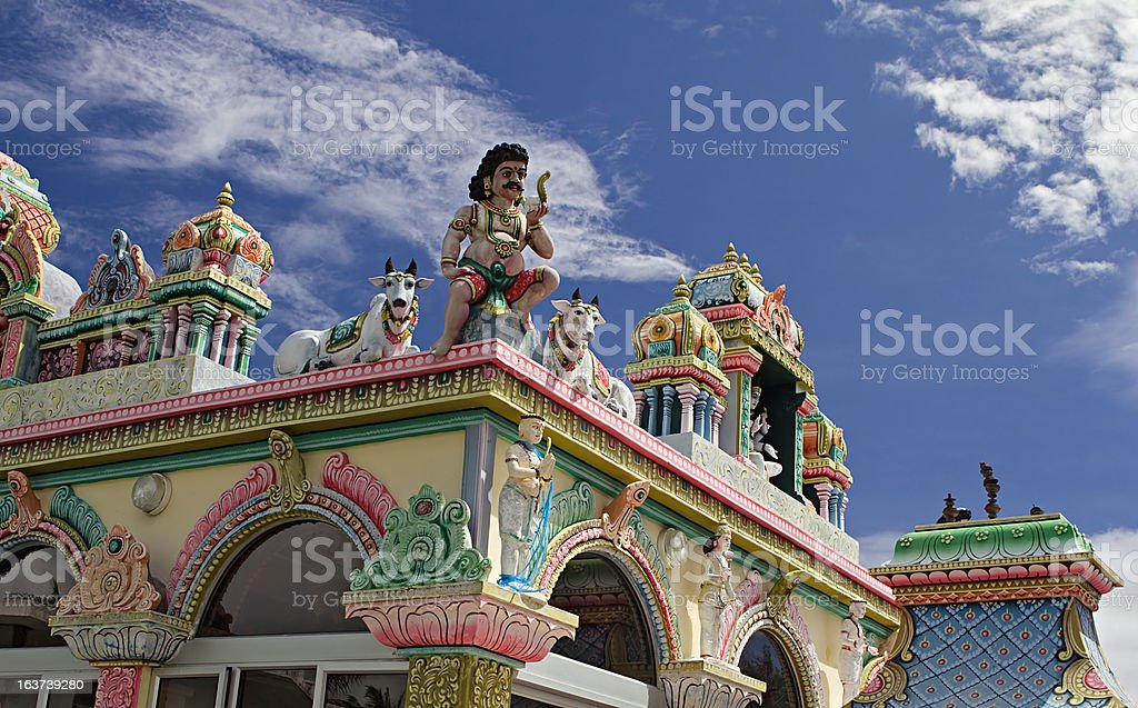 External detail of a colored Hindu temple stock photo