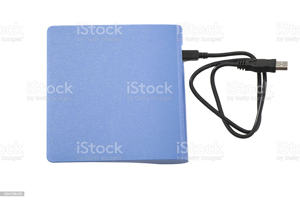External DVD a drive with disk stock photo