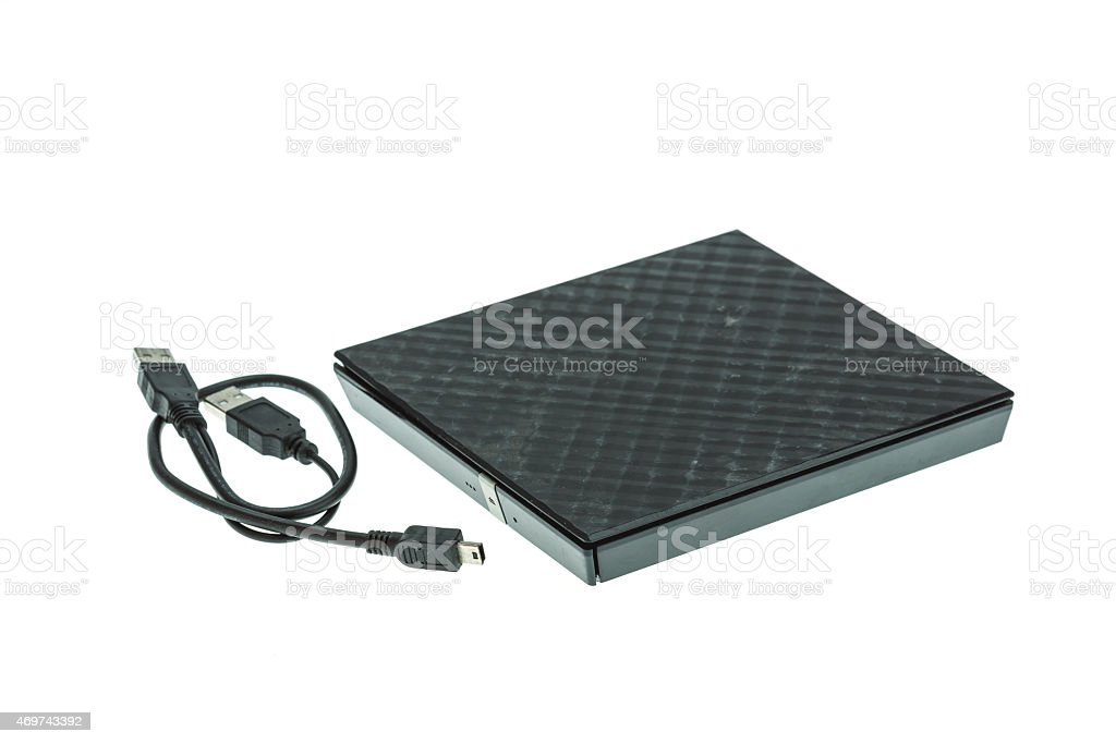 External DVD rom isolated on white stock photo