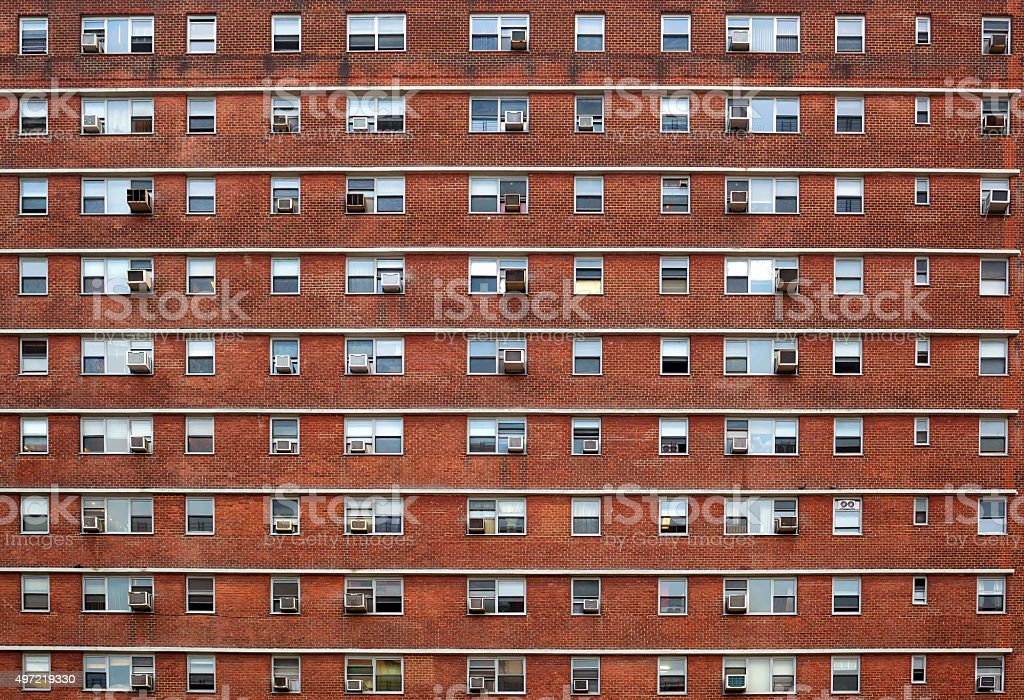 External facade with many windows all identical. stock photo