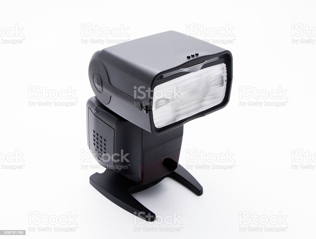 External Flash for DSLR Camera_Front on White Background stock photo