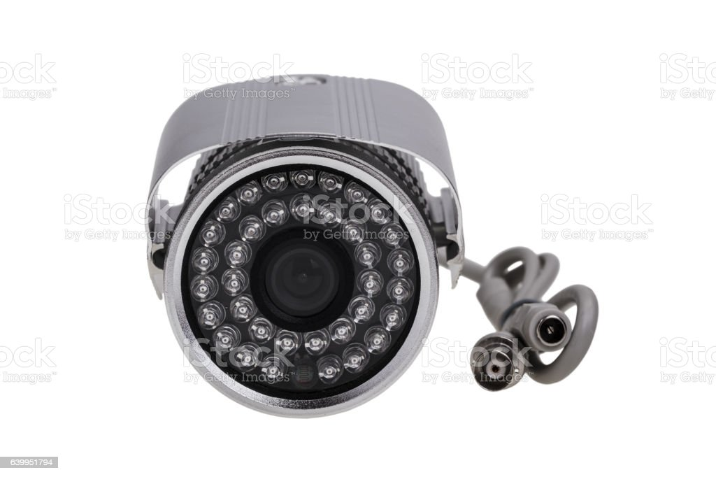 External security surveillance camera with night vision LED backlight stock photo
