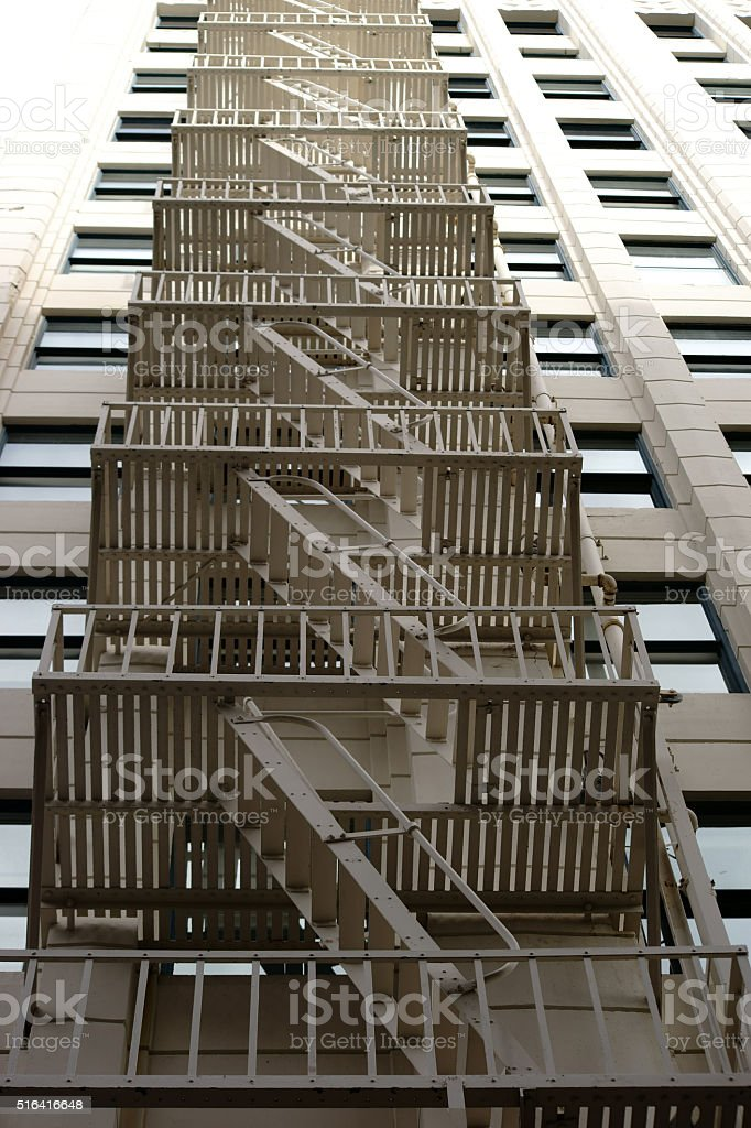 External staircase low angle view stock photo