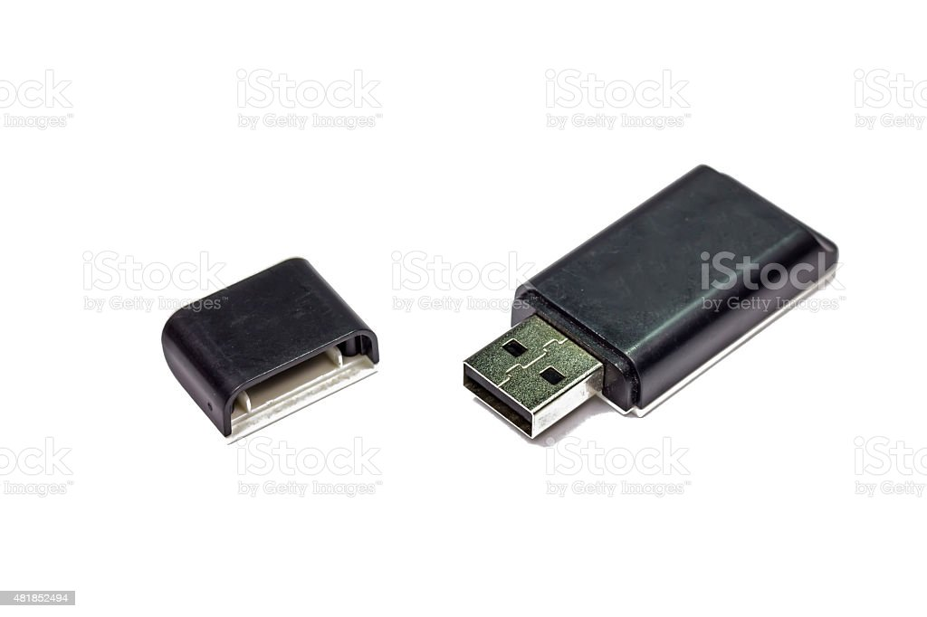 External USB multi card reader isolated on white stock photo