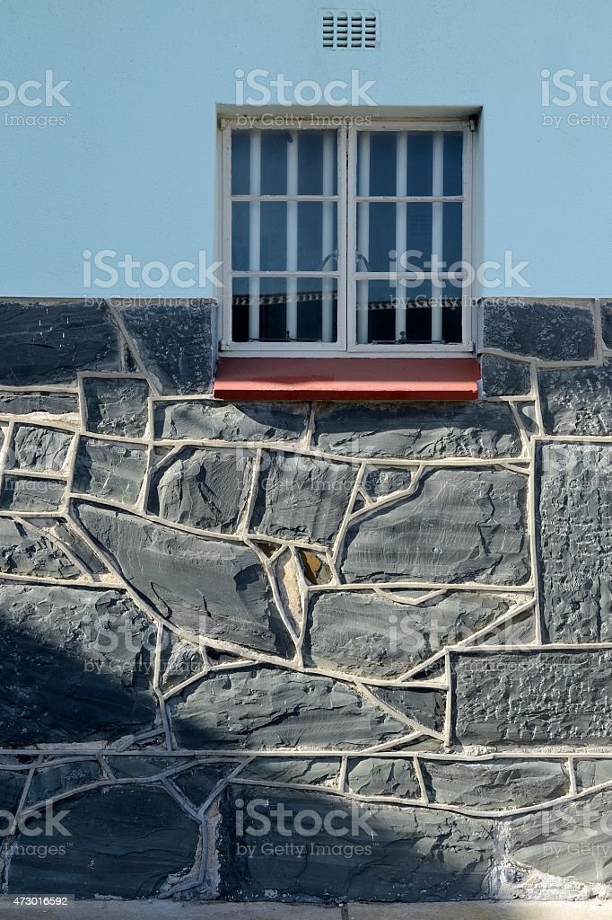 External view of Nelson Mandela's prison cell on Robben Island stock photo