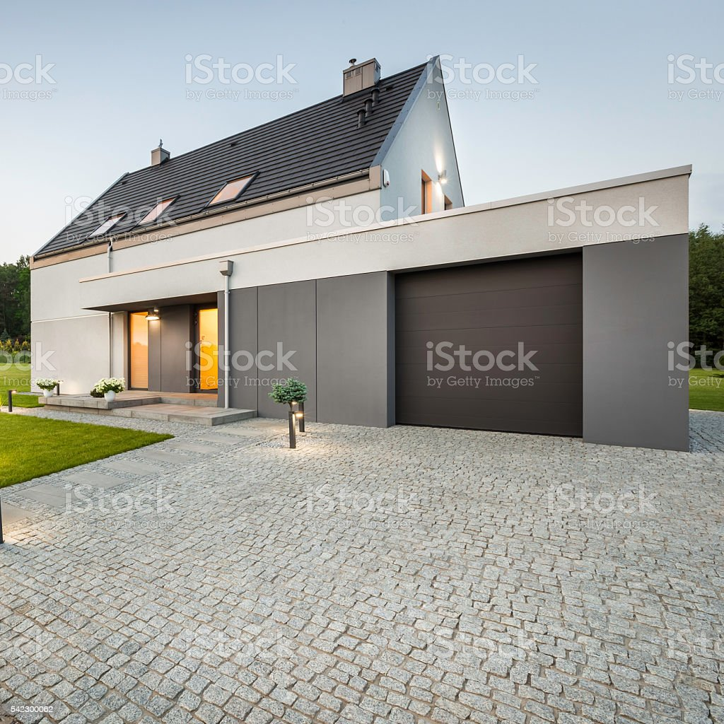 External view of stylish house stock photo