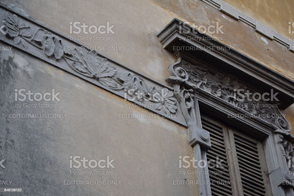 external wall and window artdéco decoration of a building stock photo