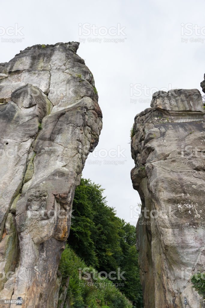 Externsteine at the hiking trail in the Teutoburg Forest, North Rhine-Westphalia stock photo