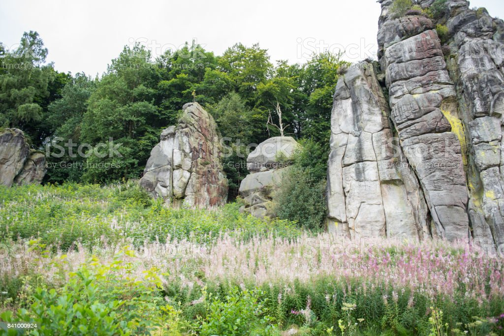 Externsteine in the footpath in the Teutoburger wood, North Rhine-Westphalia stock photo