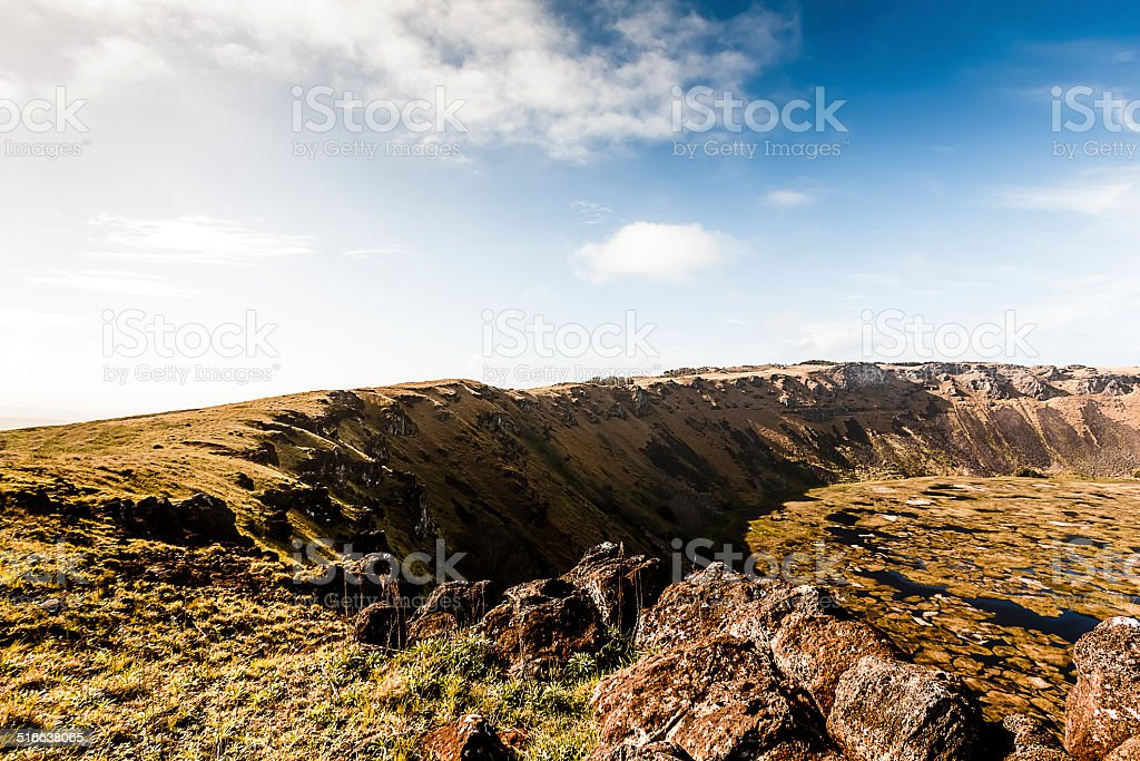 Extincit Volcano Rano Kau Crater in Easter Island, Chile stock photo