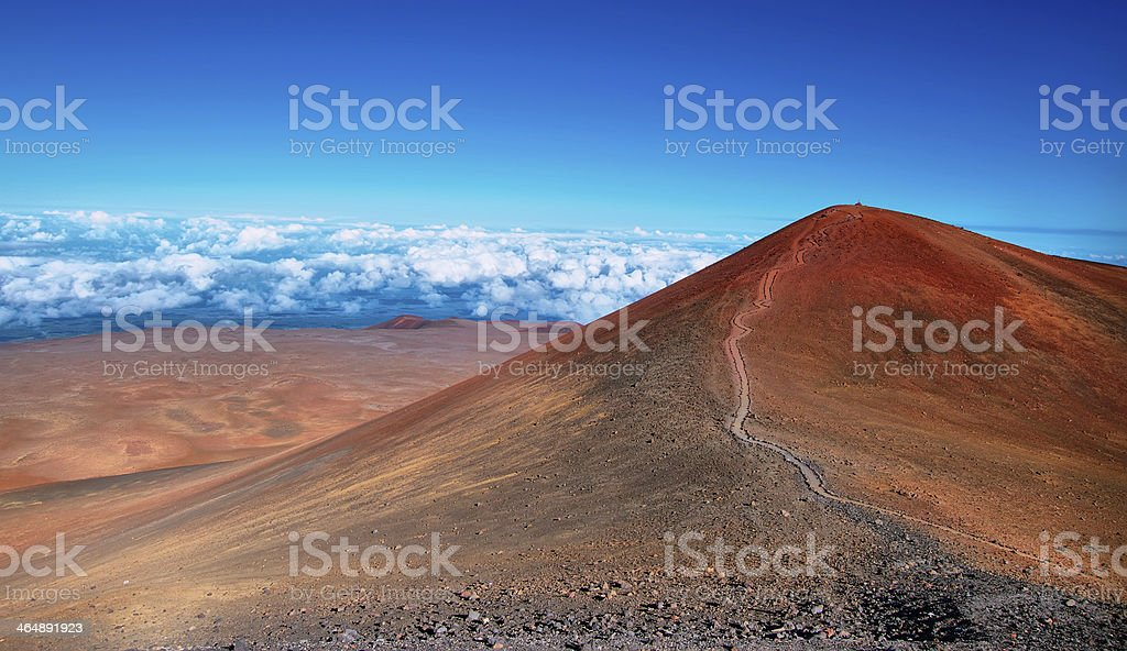 Extinct volcanic craters in background stock photo