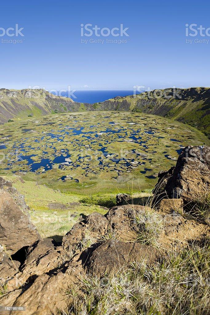 Extinct volcano Rano Kao on Easter Island Chile stock photo