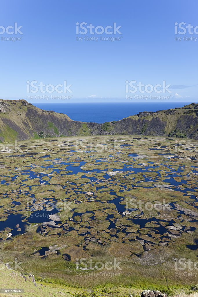 Extinct volcano Rano Kao on Easter Island Chile stock photo