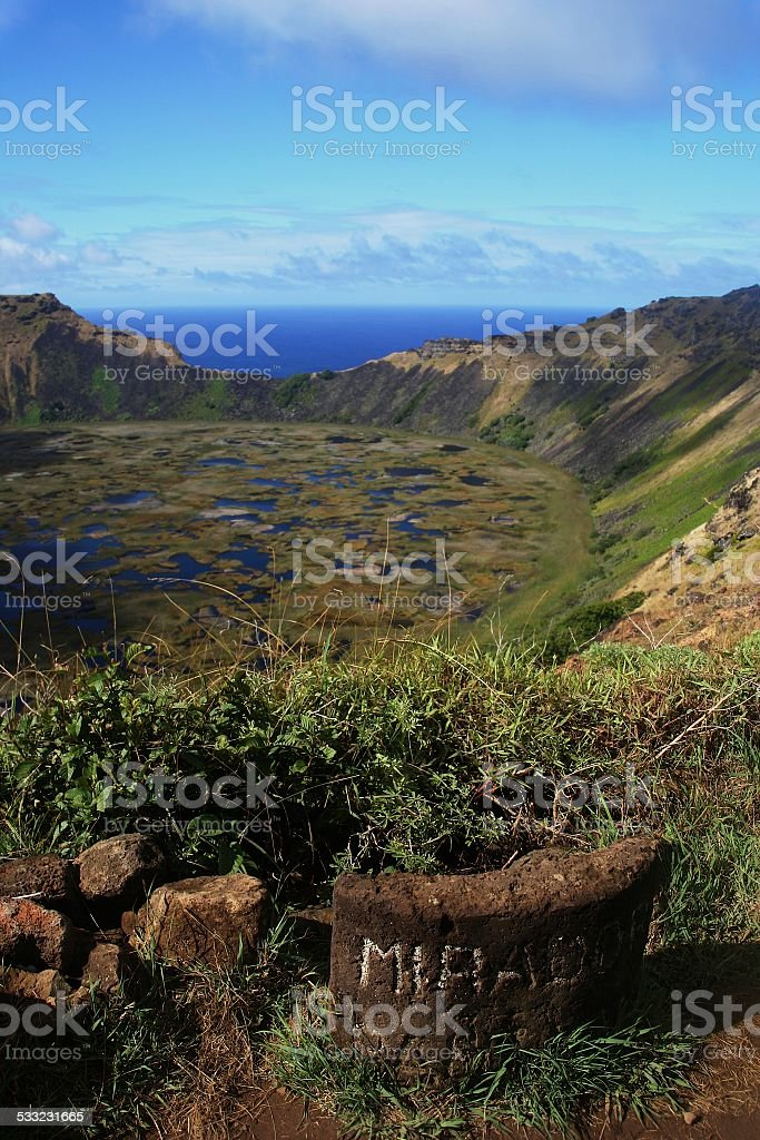 Extinct volcano Rano Kao on Easter Island stock photo